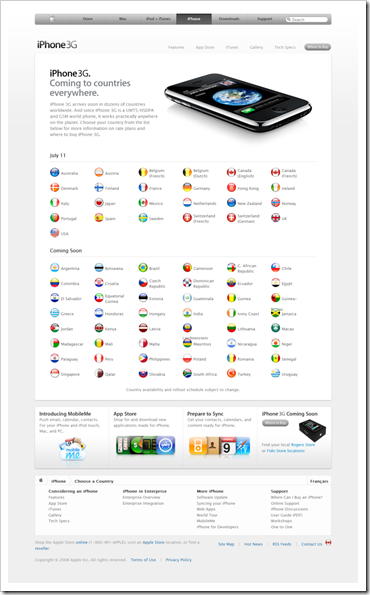 iPhone - Choose a Country - Apple Canada